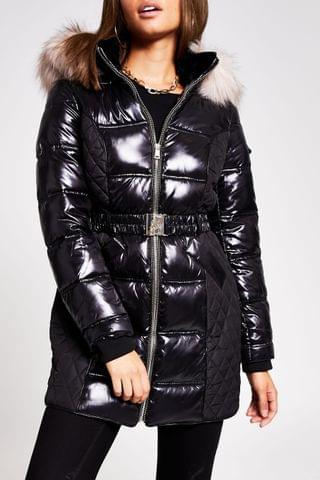 WOMEN River Island Black Quilted Double Zip Padded Jacket