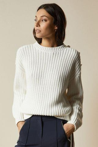 WOMEN Ted Baker Whtnee Button Sleeve Cable Knit Jumper
