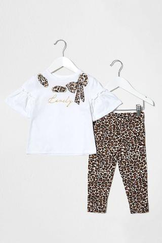 KIDS River Island White Top And Leopard Printed Jogger Set