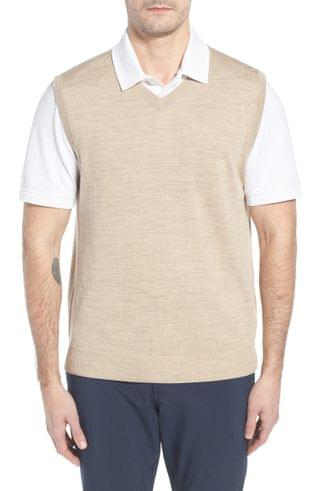 MEN Cutter & Buck 'Douglas' Merino Wool Blend V-Neck Sweater Vest (Online Only)