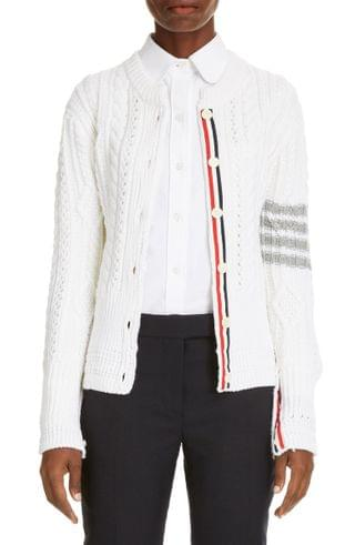 WOMEN Thom Browne 4 Bar Cable Knit Cardigan