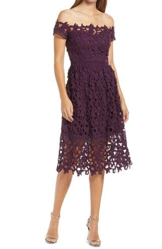 WOMEN Chi Chi London Lizana Off the Shoulder Lace Fit & Flare Dress