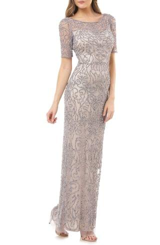 WOMEN JS Collections Beaded Illusion Lace Column Gown