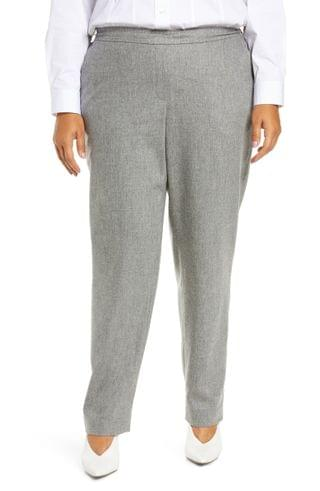 WOMEN Lafayette 148 New York Fulton Elastic Waist Wool Blend Pants (Plus Size)