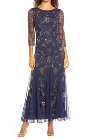 WOMEN Pisarro NIghts Embellished Mesh Gown