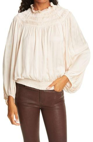 WOMEN FRAME Trapped Ruching Poet Blouse