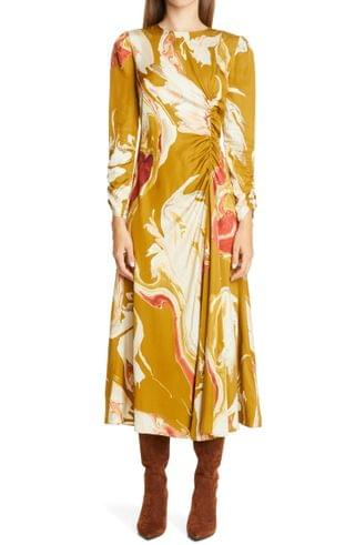 WOMEN Lafayette 148 New York Astrid Ruched Long Sleeve Midi Dress