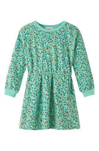 KIDSS Peek Aren't You Curious Floral Long Sleeve French Terry Dress (Toddler, Little Girl & Big Girl)