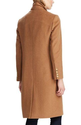 WOMEN Lauren Ralph Lauren Double Breasted Wool Blend Coat (Regular & Petite)