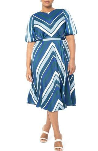 WOMEN ELOQUII Stripe Puff Sleeve Dress (Plus Size)