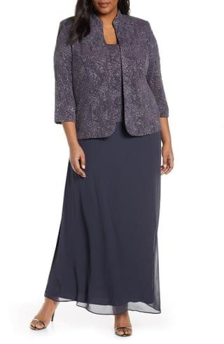 WOMEN Alex Evenings Mock Two-Piece Gown with Jacket (Plus Size)