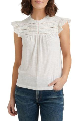 WOMEN Lucky Brand Cotton Eyelet Yoke Top