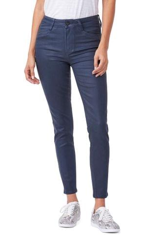 WOMEN PAIGE Transcend Hoxton High Waist Ankle Skinny Jeans (Deep Sapphire Luxe Coating)