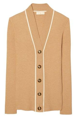 WOMEN Tory Burch Simone Ribbed Merino Wool Blend Cardigan