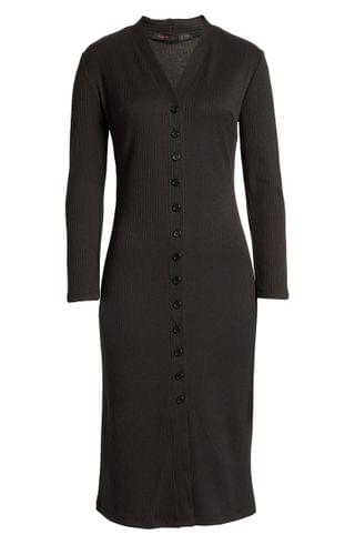 WOMEN Fraiche by J Front Button Ribbed Long Sleeve Midi Dress