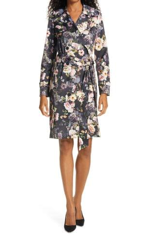 WOMEN L'AGENCE Atticus Floral Print Trench Coat