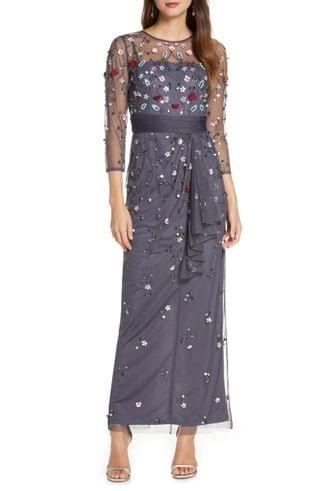 WOMEN JS Collections Floral 3D Embellished Gown