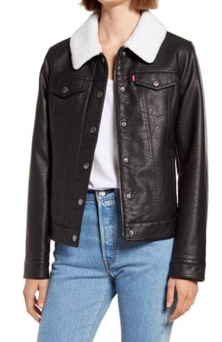 WOMEN Levi's Faux Leather Trucker Jacket with Faux Shearling Collar