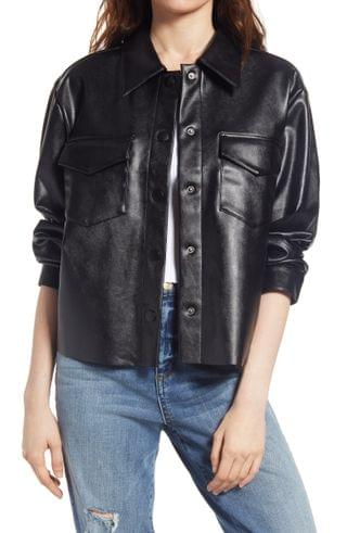 WOMEN Tinsel Faux Leather Army Jacket