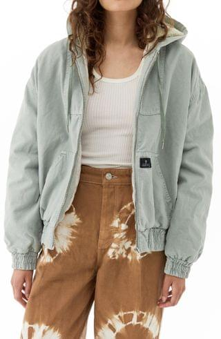 WOMEN BDG Urban Outfitters Hooded Canvas Bomber Jacket