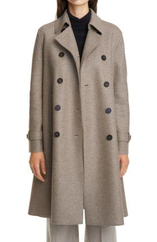 WOMEN Harris Wharf London Pressed Wool Double Breasted Trench Coat
