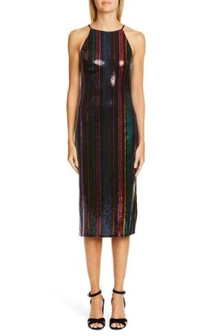 WOMEN Badgley Mischka Stripe Sequin Midi Evening Dress