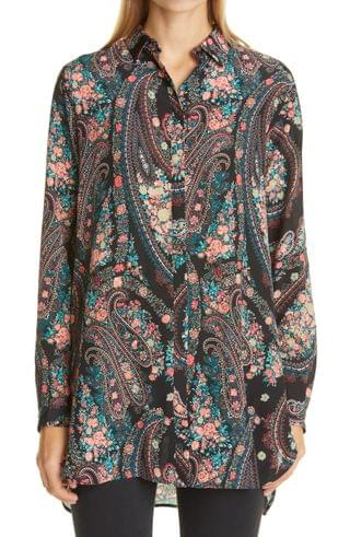 WOMEN Etro Paisley Floral High/Low Silk Shirt
