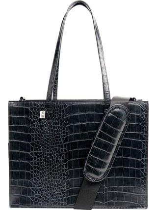 WOMEN Beis Mini Work Croc Embossed Faux Leather Tote