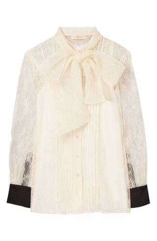 WOMEN Tory Burch Chantilly Lace Bow Blouse