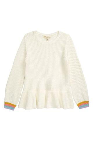 KIDSS Tucker + Tate Stripe Cuff Peplum Cotton Blend Sweater (Toddler, Little Girl & Big Girl)
