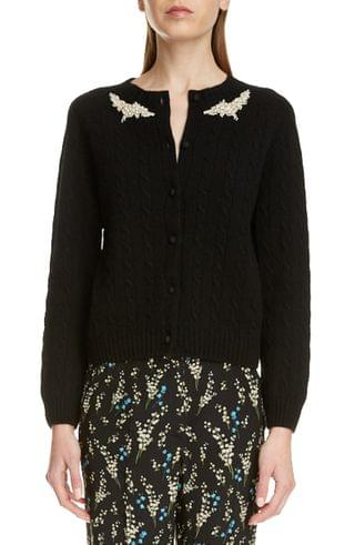 WOMEN Erdem Imitation Pearl Beaded Cable Knit Cashmere Cardigan