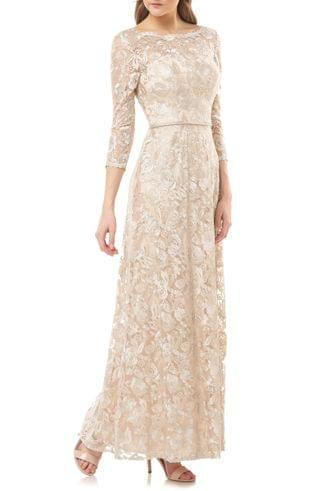 WOMEN JS Collections Embroidered Lace A-Line Gown