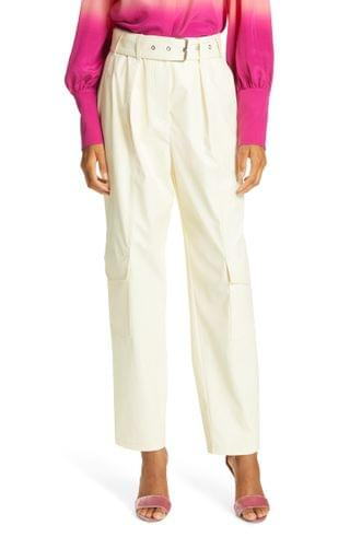 WOMEN Tanya Taylor Megan Belted Stretch Cotton Trousers