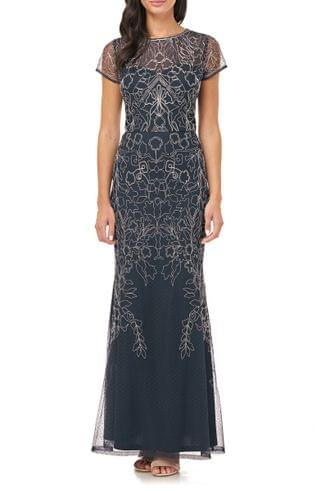 WOMEN JS Collections Soutache Mesh Evening Dress