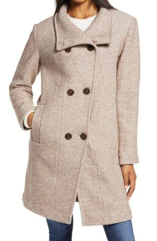 WOMEN Ellen Tracy Double Breasted Wool Blend Coat