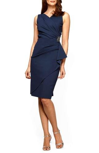 WOMEN Alex Evenings Side Ruched Cocktail Dress (Regular & Petite)