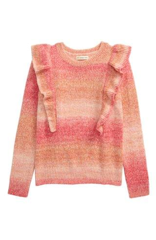 KIDSS Tucker + Tate Space Dye Ruffle Cotton Blend Sweater (Toddler, Little Girl & Big Girl)