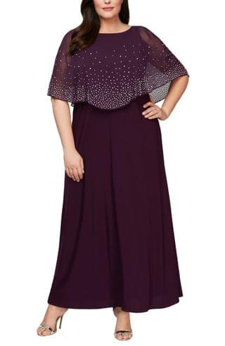 WOMEN Alex Evenings Embellished Popover Gown (Plus Size)