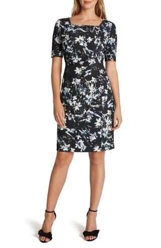WOMEN Tahari Floral Side Ruched Square Neck Sheath Dress