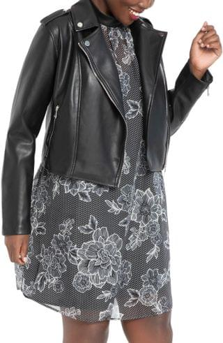 WOMEN ELOQUII Faux Leather Moto Jacket (Plus Size)