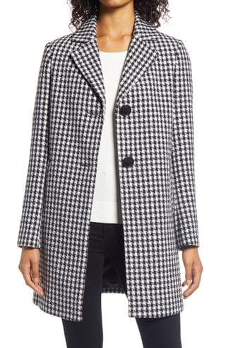 WOMEN Sam Edelman Single Breasted Houndstooth Coat