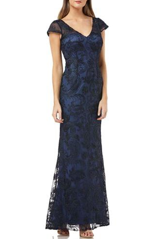 WOMEN JS Collections Soutache Embroidered V-Neck Trumpet Gown