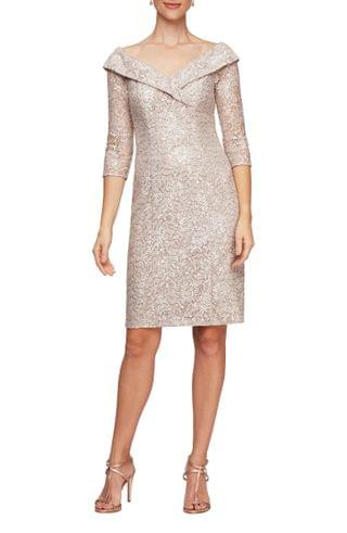 WOMEN Alex Evenings Off the Shoulder Sequin Lace Sheath Dress