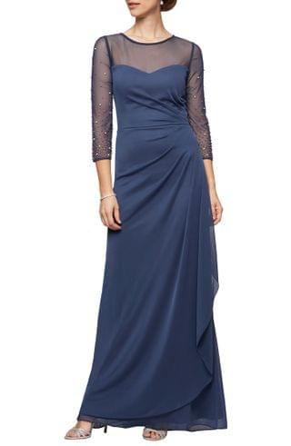 WOMEN Alex Evenings Illusion Lace Beaded Detail A-Line Gown