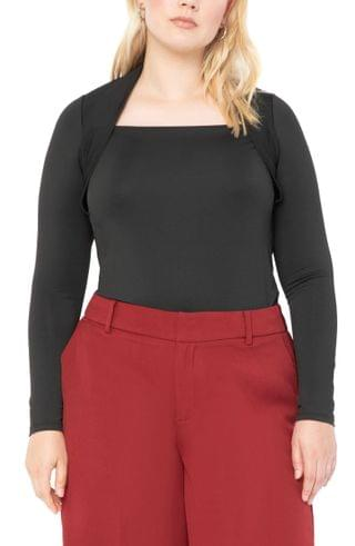 WOMEN ELOQUII Square Neck Fitted Top (Plus Size)