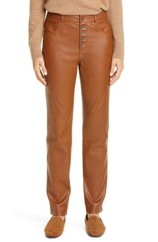 WOMEN Lafayette 148 New York Reeve Leather Slim Pants