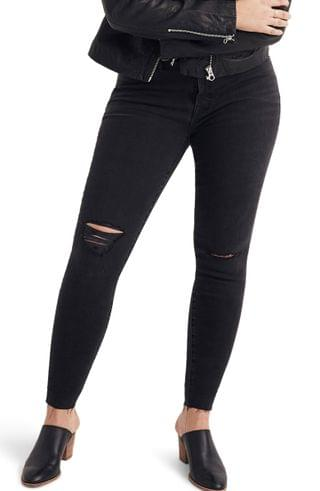 WOMEN Madewell 9-Inch Mid Rise Skinny Jeans (Black Sea) (Plus Size)