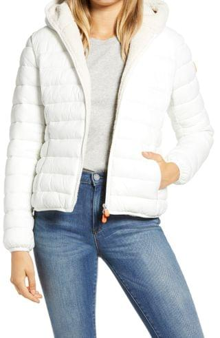 WOMEN Save The Duck Giga Water Repellent Hooded Puffer Jacket with Faux Shearling Lining