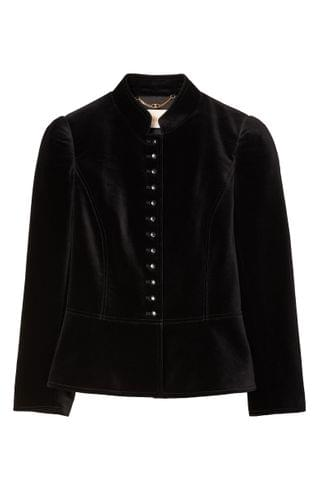 WOMEN Tory Burch Shrunken Velvet Military Jacket