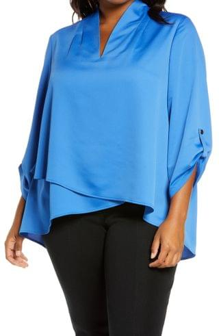 WOMEN Ming Wang Roll Tab Crossover Hem Blouse (Plus Size)